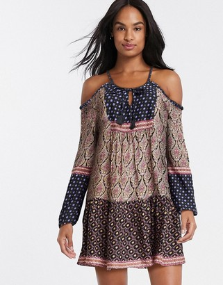 Raga into the horizon cold shoulder mini dress in multi