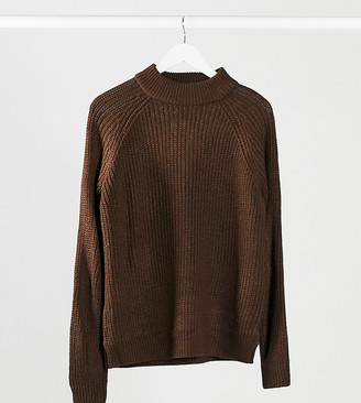 Vero Moda Tall exclusive sweater with high neck in chocolate