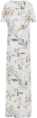 Chalayan Cape-effect Printed Fil Coupe Maxi Dress