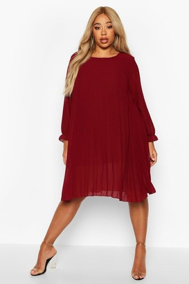 boohoo Plus Pleated Swing Dress