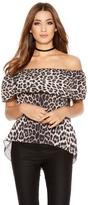 Quiz Leopard Print Chiffon Bardot Top