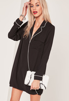 Missguided Black Contrast Pyjama Wrap Front Dress