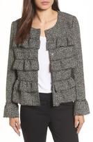 Halogen Petite Women's Ruffle Detail Tweed Jacket