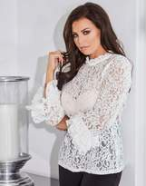 Jessica Wright Lace Long Sleeve Top With Double Frill Sleeve