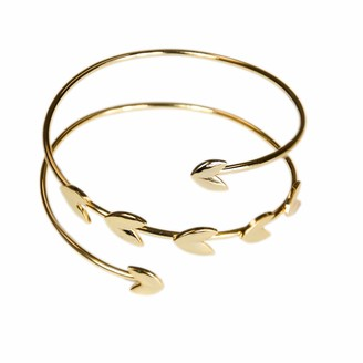 Jules Smith Designs Athena Gold Cuff for Women or Girls: 14k Gold Plated Grecian Style Cuff Bracelet Features a Wrap Design with Leaf-Like Adornments.
