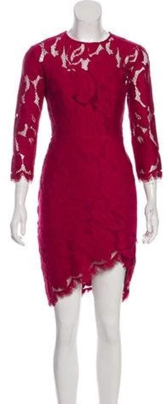Lover Knee-Length Lace Dress Magenta Knee-Length Lace Dress