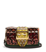 Burberry Buckle small snakeskin, leather and twill bag
