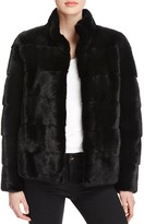 Maximilian Furs Leather-Trim Long-Sleeve Mink Jacket