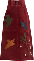 RED Valentino Bird and floral-appliqué suede skirt