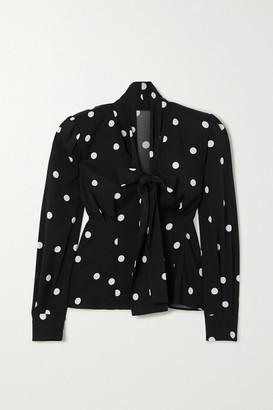 Dolce & Gabbana Pussy-bow Polka-dot Silk-blend Blouse - Black