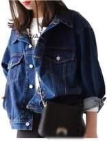 Zilcremo Women's Fall Casual Loose Button Dwon Punk Jeans Boyfriend Style Denim Jacket Outcoat L