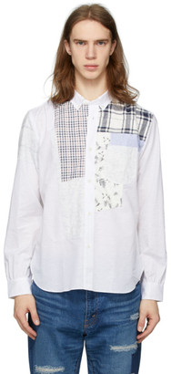 Junya Watanabe White Chambray Multi-Fabric Shirt