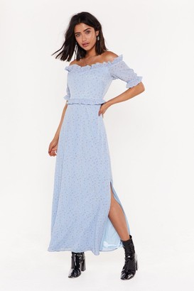 Nasty Gal Womens To the Maxi-mum Floral Off-the-Shoulder Dress - blue - 4
