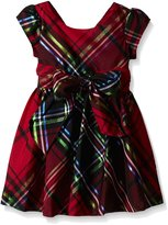 Bonnie Jean Black Plaid Pattern Button Glitter Christmas Dress