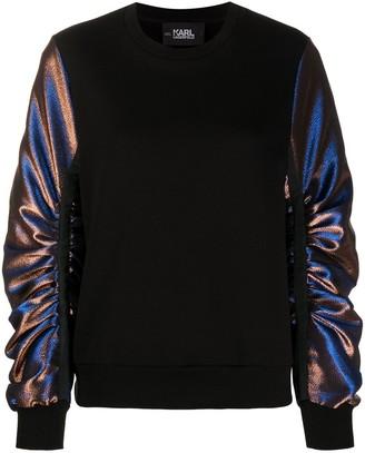 Karl Lagerfeld Paris Lurex-Sleeve Sweatshirt
