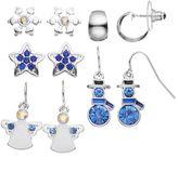 Angel, Snowflake, Snowman, Star & Hoop Earring Set