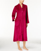 Miss Elaine Dot Textured Fleece Zip-Front Robe