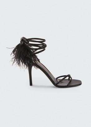 Valentino 100mm Ostrich Feather Ankle-Wrap Stiletto Sandals