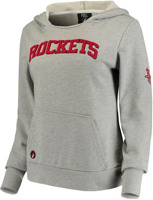 Women's Heathered Gray Houston Rockets French Terry Lining Thumbhole Pullover Hoodie