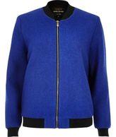 River Island Womens Blue wool blend bomber jacket