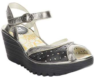Fly London Women's Sandals 007 - Black & Bronze Perforated Yumo Leather Sandal - Women