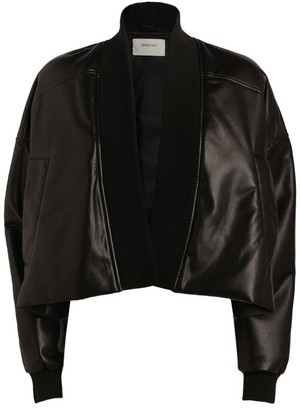 Sportmax Cane Faux Leather Cropped Bomber Jacket