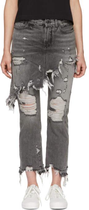 R 13 Grey Double Classic Shredded Hem Jeans