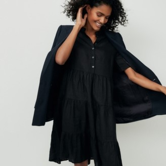 The White Company Linen Tiered Dress, Black, Small