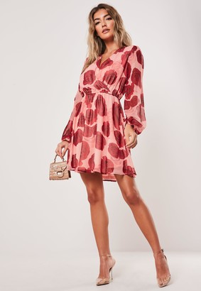 Missguided Pink Rose Print Wrap Mini Dress