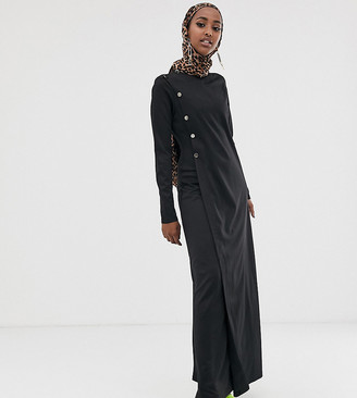 Verona long sleeved maxi dress with button detail in black