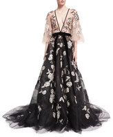 Marchesa Embroidered Flutter-Sleeve Tulle Gown