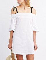 Charlotte Russe Poplin Cold Shoulder Shift Dress