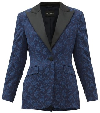 Etro Acacia Single-breasted Floral-jacquard Jacket - Womens - Blue Multi