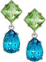 Kenneth Jay Lane Silvertone Crystal Double-Drop Clip Earrings, Green/Aqua