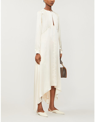 Le Kasha Turfan pearl-embellished silk maxi dress