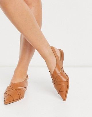 ASOS DESIGN Mazed cut out slingback flat shoes in tan