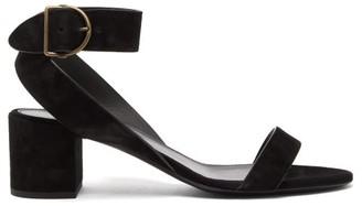 Saint Laurent Charlie Suede Block-heel Sandals - Womens - Black
