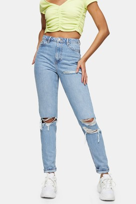 Topshop Womens Tall Bleach Mom Tapered Jeans - Bleach Stone