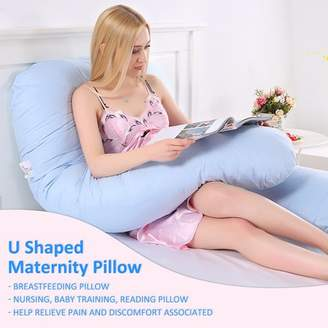 Kadell Total Body Pillow Large U Shape Full Body Pillow Pregnancy Maternity Comfort Support Cushion Sleep Nursing Maternity Sleep Bed Baby Training Reading Pillow Pillow Blue