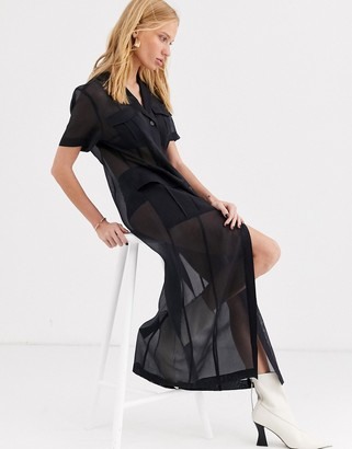 And other stories & sheer pocket-detail midi dress in black