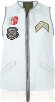 Mr & Mrs Italy - embroidered denim waistcoat - women - Cotton/Spandex/Elastane - XS