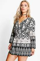Boohoo Plus Casey Ethnic Printed Playsuit multi