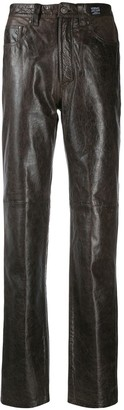 Versace Pre Owned Slim Leather Trousers