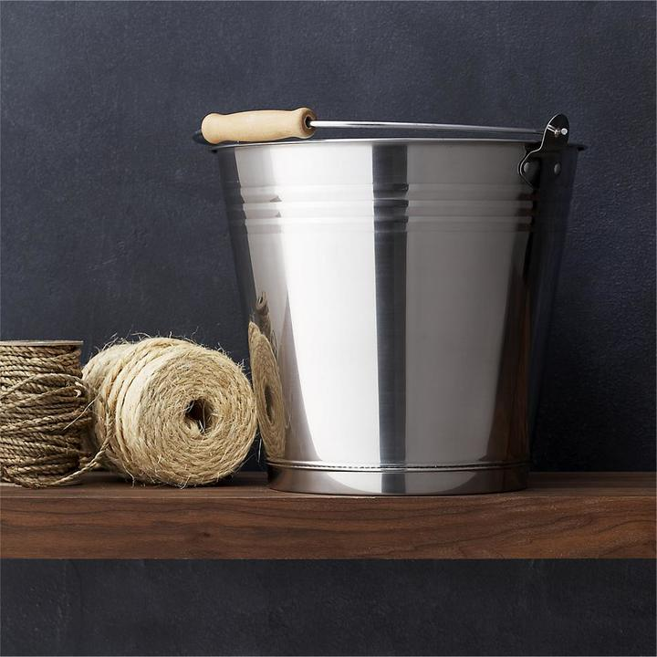 Crate & Barrel Stainless Steel Bucket with Wood Handle