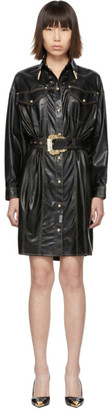 Versace Jeans Couture Black and Gold Spread Shirt Dress