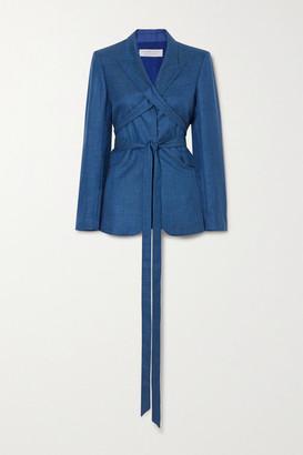 Gabriela Hearst Belted Wool And Silk-blend Blazer - Cobalt blue