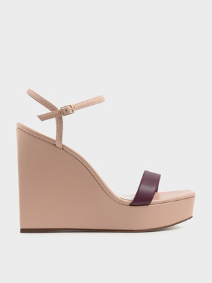 Charles & Keith Square Toe Platform Wedges