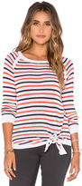 Shae Tie Front Stripe Pullover Sweater