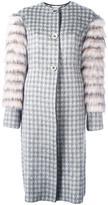 Agnona fur sleeve jacquard coat