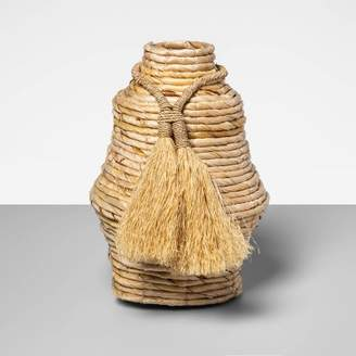 """Opalhouse 10"""" x 7.5"""" Decorative Woven Vase with Tassels Brown - OpalhouseTM"""
